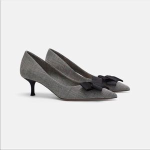 Zara Glen Plaid Check Heels with Bow Size 10